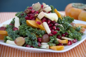 Persimmon Apple Kale Salad with Tangy Tahini Dressing